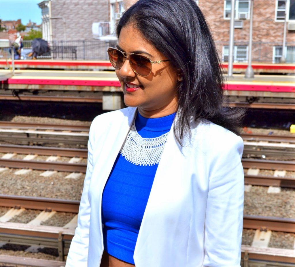 white theory blazer tiffany sunglasses