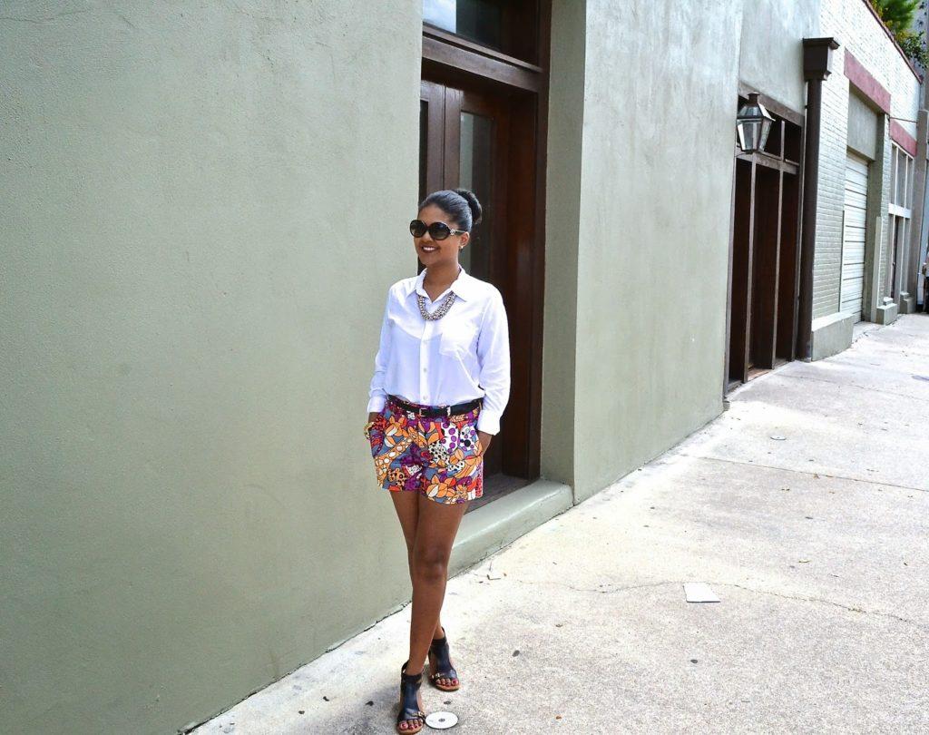 nanette lepore print shorts theory blouse