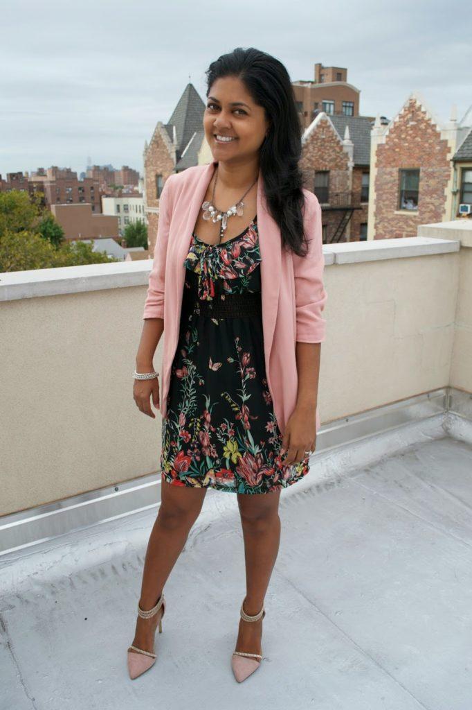 fall trends dark florals pink blazer