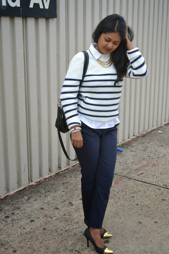 Zara striped sweater navy stripe sweater