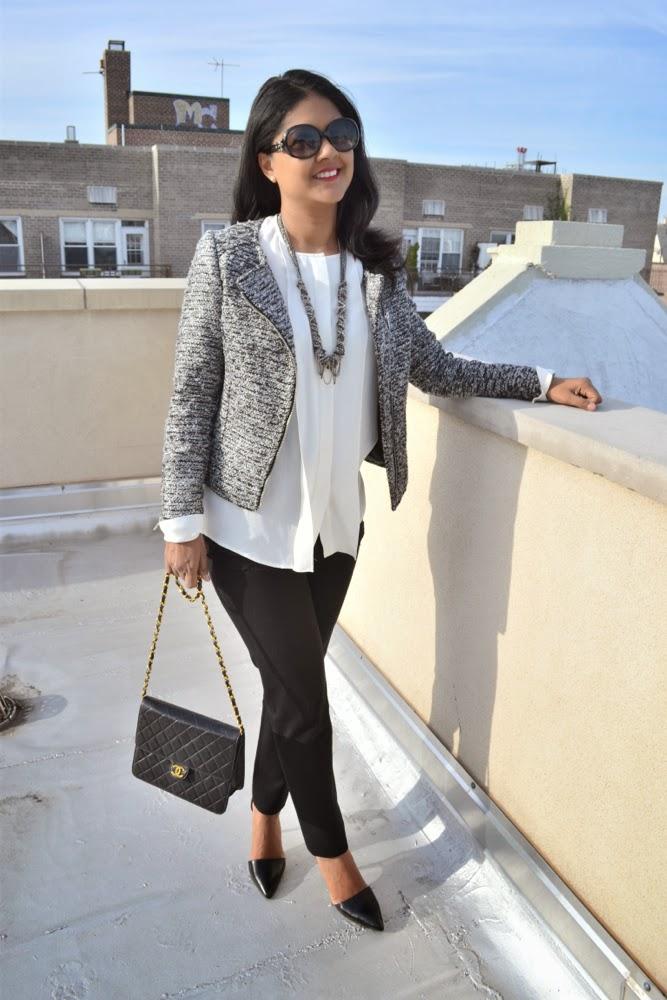 H&M tweed jacket Theory blouse, banana republic pants