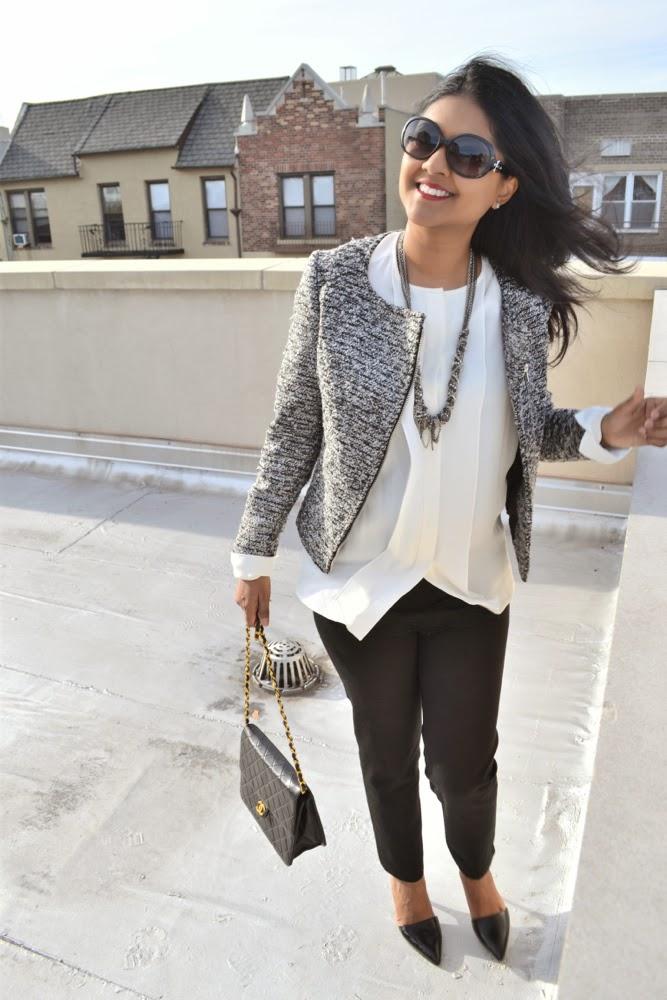 Chanel vintage purse white blouse black pants tweed jacket