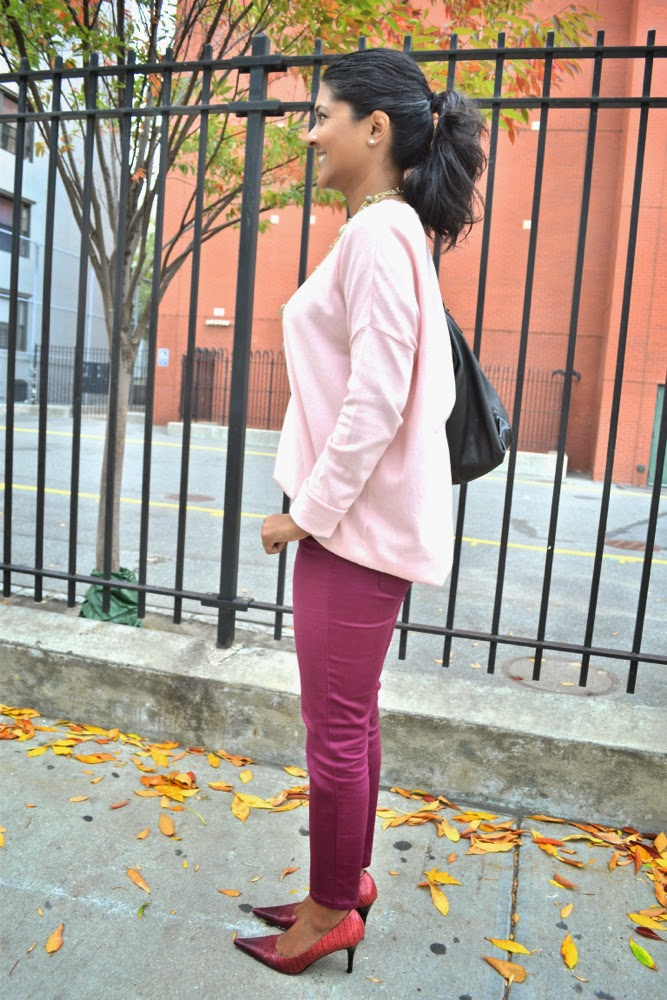 kenneth cole pumps red pants pink zara sweater