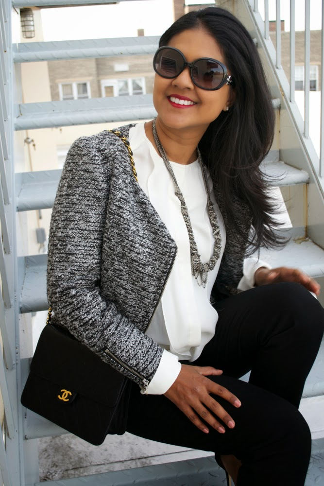 black pants white blouse tweed blazer tweed jacket