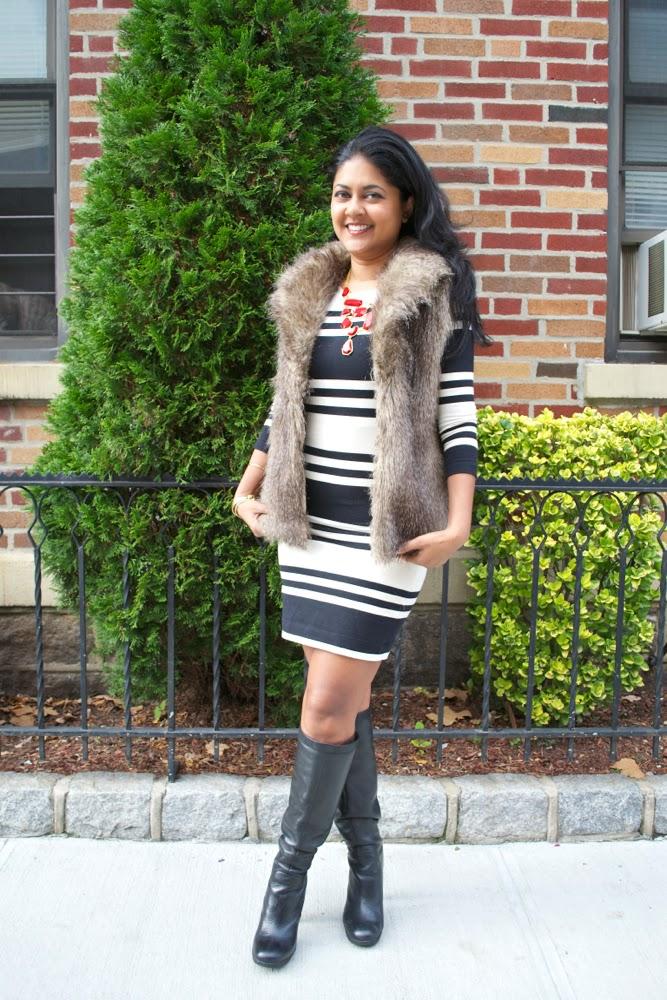 fur vest striped dress black and white