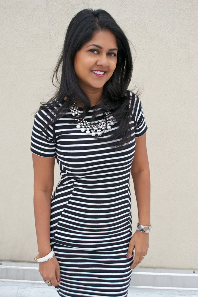 black and white stripes french connection dress