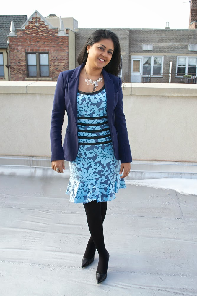 blue blazer blue lace dress