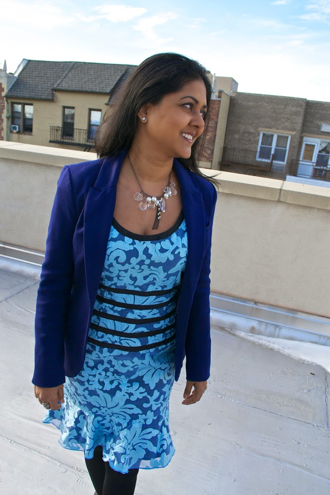 tailored dress blue on blue dress and blazer
