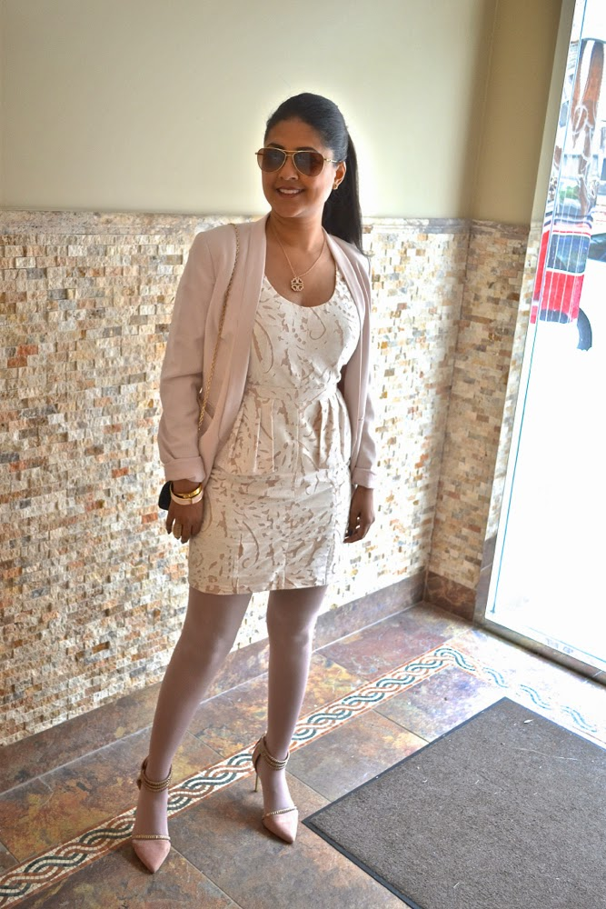 BCBG white dress lace dress pink blazer