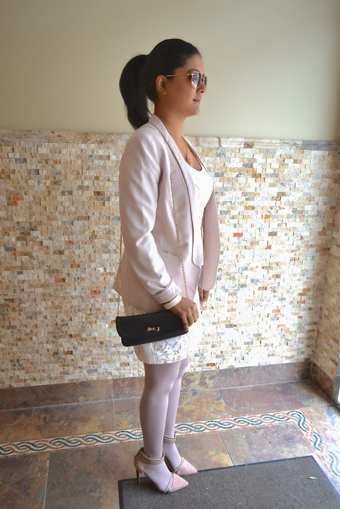 BCBG white lace dress pink blazer