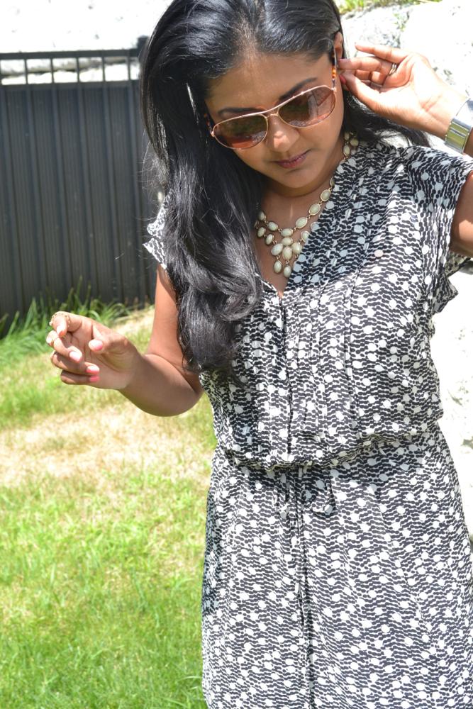H&M summer floral dress Amrita singh statement necklace