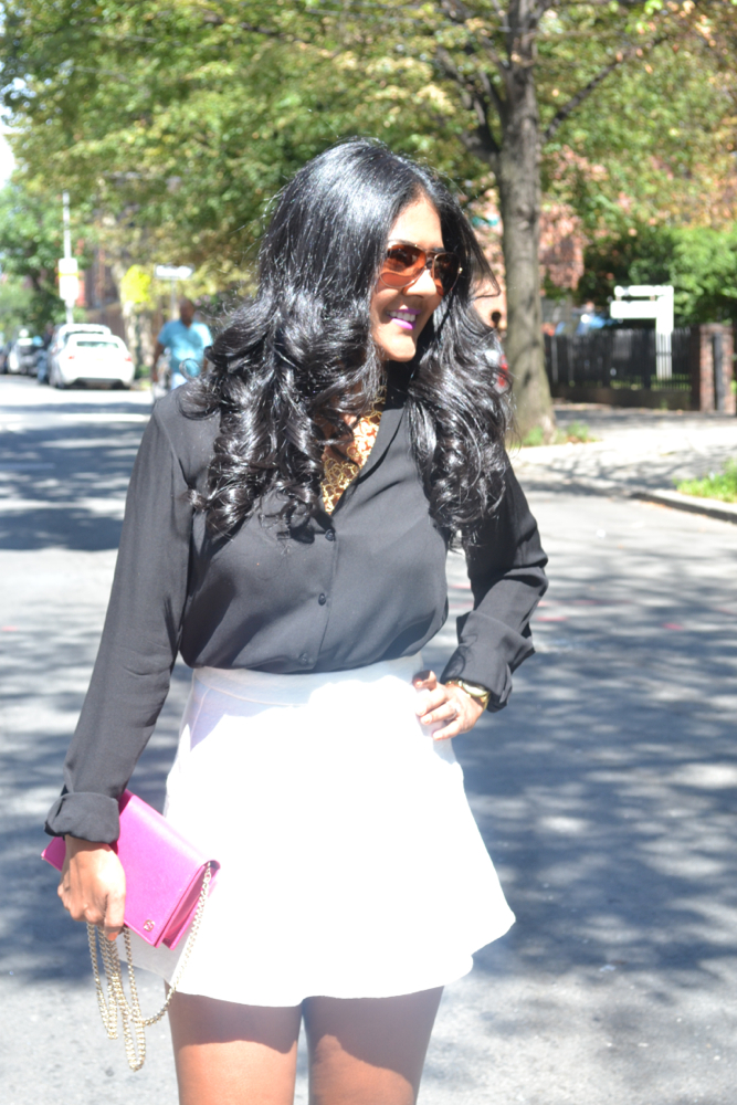 black and white outfit Gucci clutch