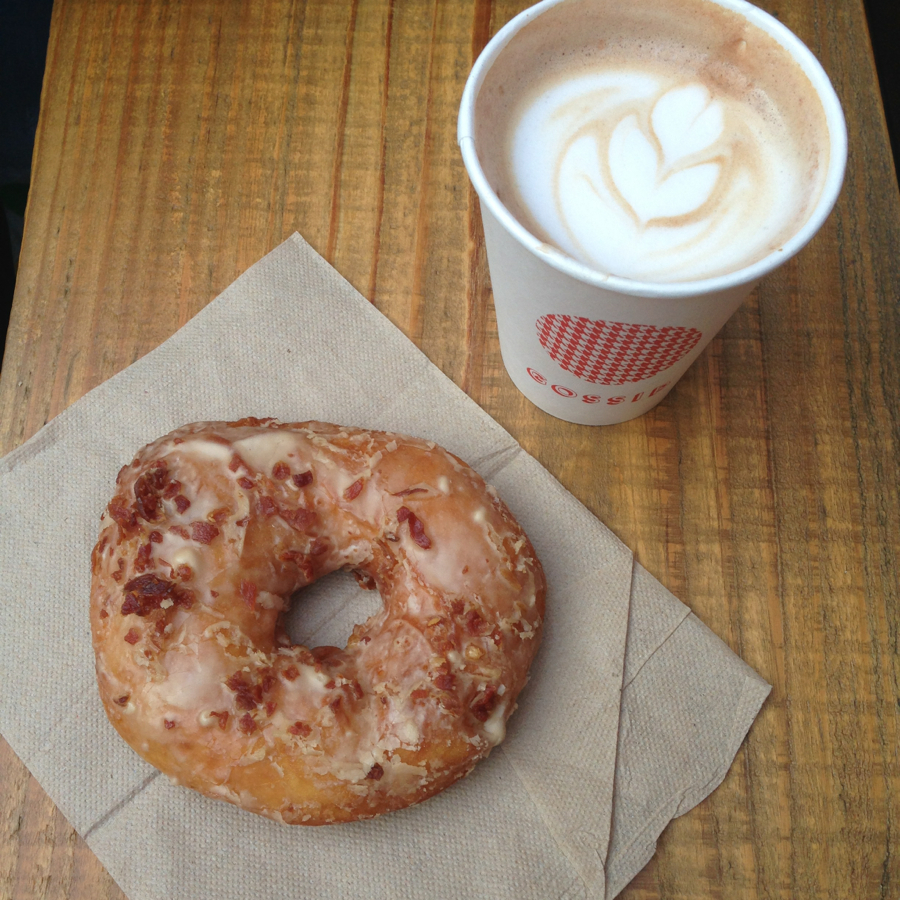 bacon guinness donuts and coffee