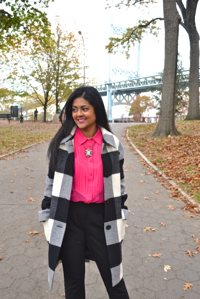 Plaid Fall coat in Astoria Park New York