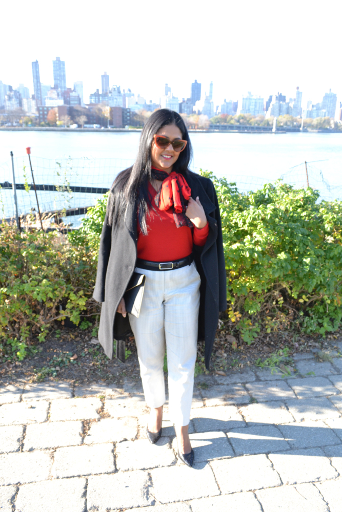 Red sweater for fall in NYC Astoria in Heels