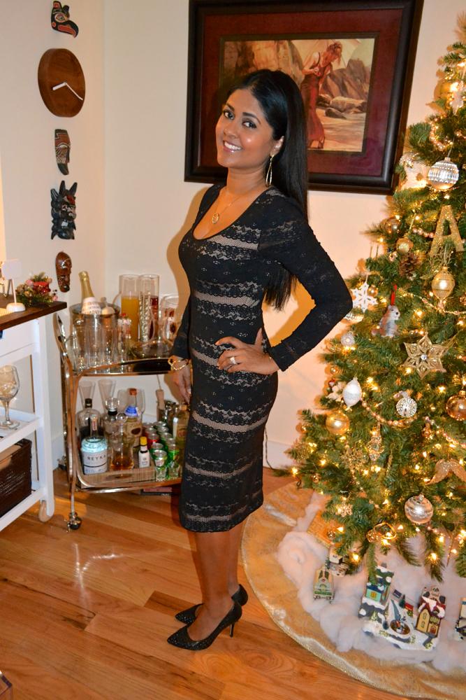 black lace dress club monaco heels