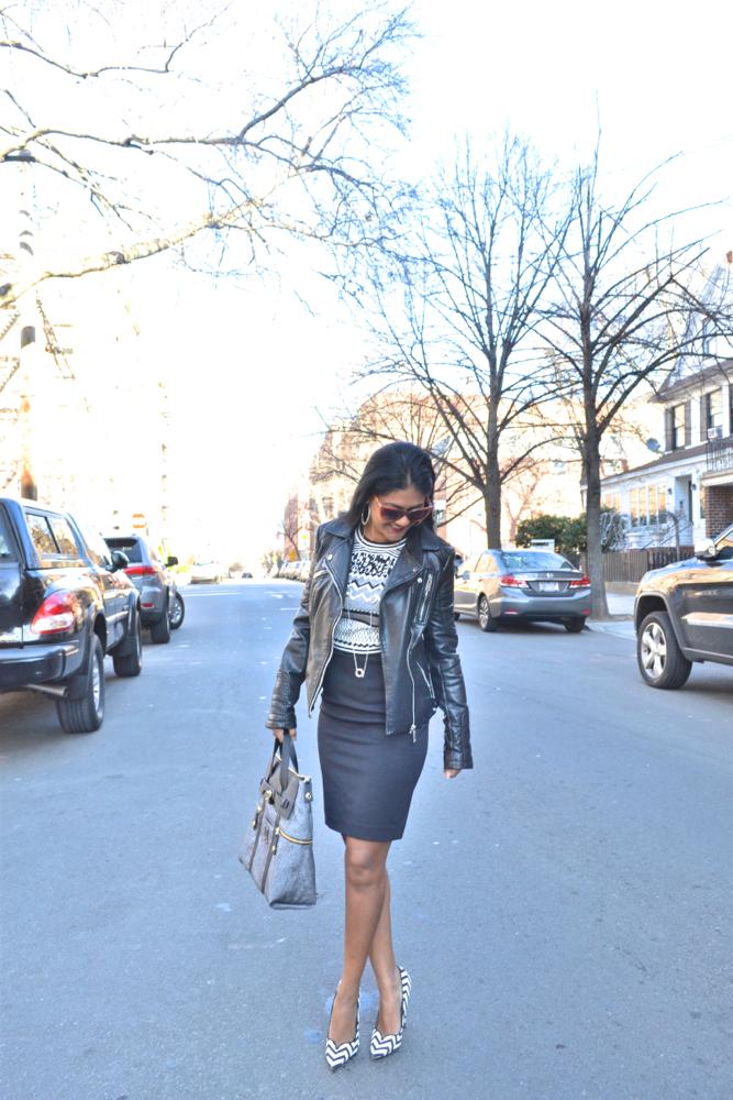 zara leather jacket astoria in heels