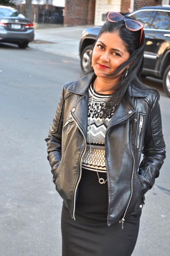 leather jacket astoria in heels