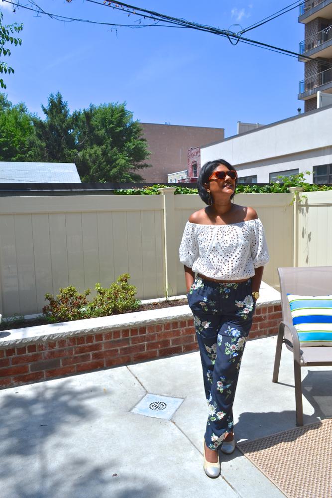 Zara floral pants for summer Astoria in heels