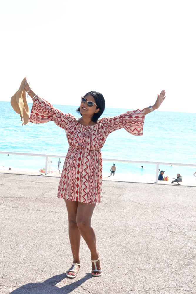 off the shoulder dress beach outfit in Nice beaches