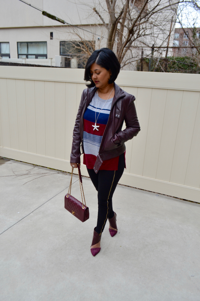 how to style burgundy booties