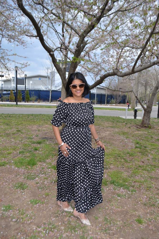 polka dot maxi dress Shein online retailer