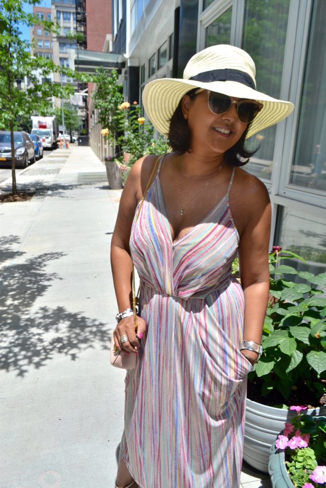 Summer faux wrap dress vueve rose rooftop party