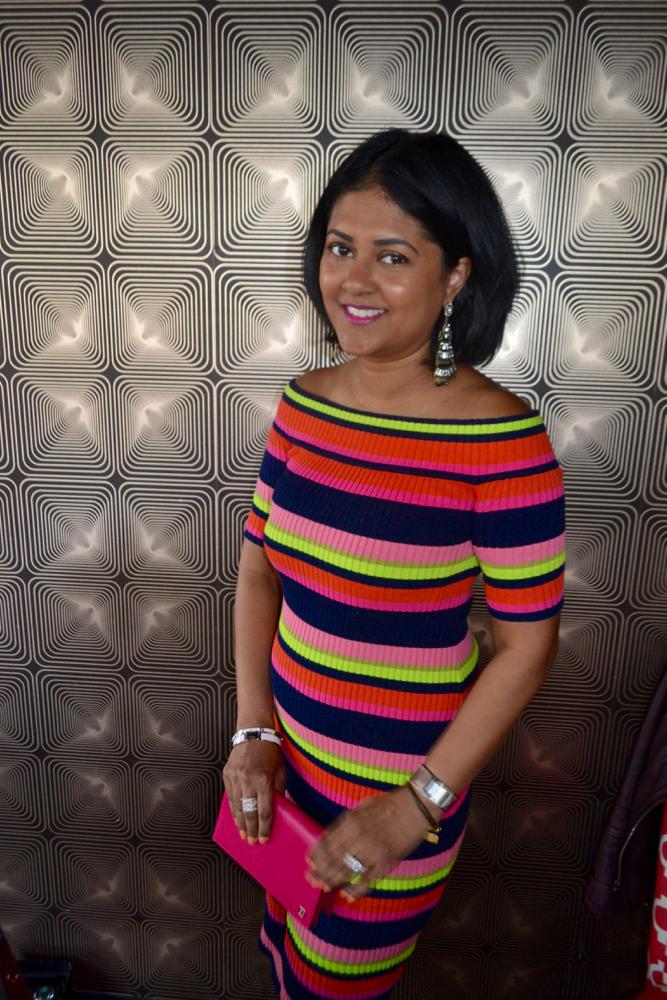 Sunday brunch in off the shoulder dress Trina Turk