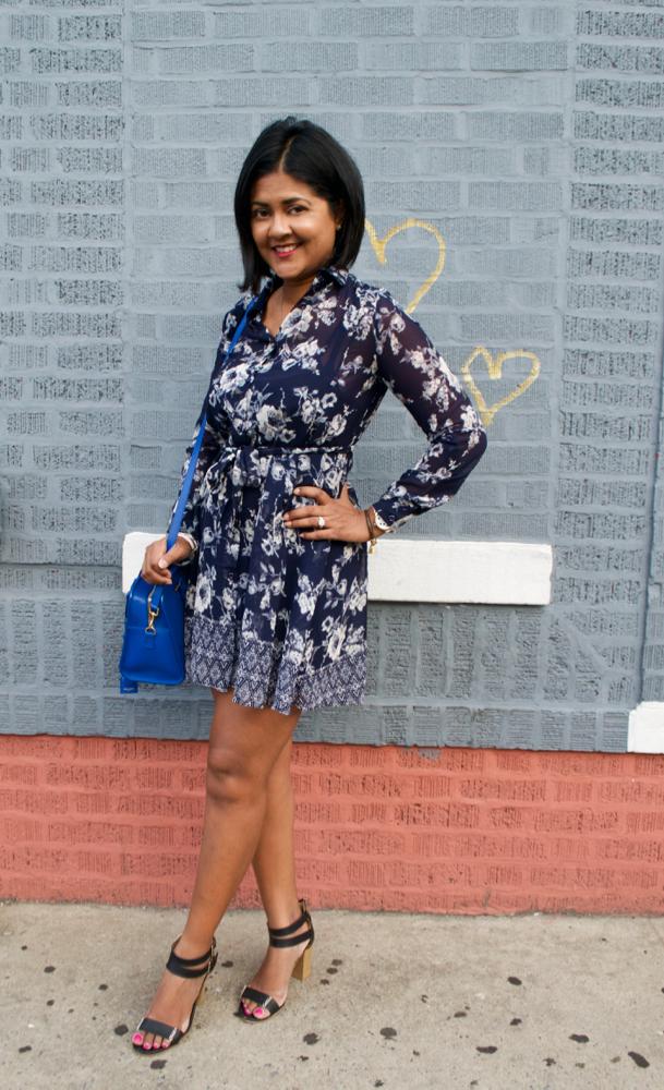 Blue Floral Dress Sandals
