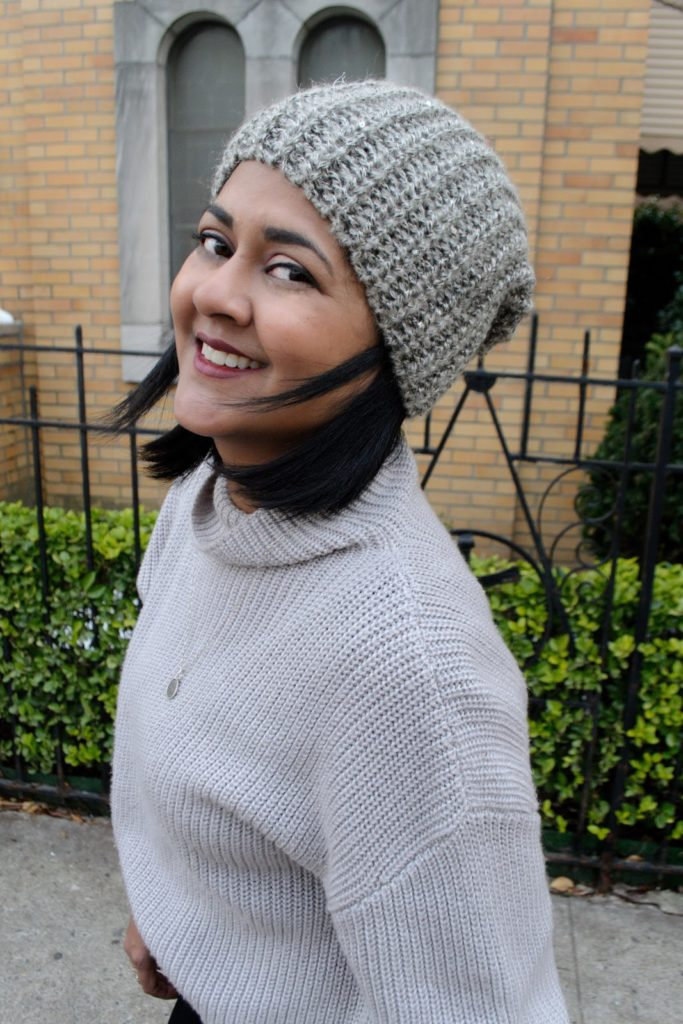 Grey beanie perfect for winter