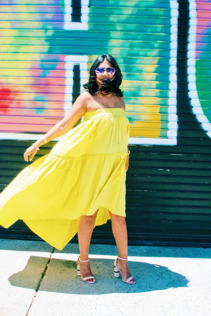 Yellow high low dress, maternity style, 6 months pregnant