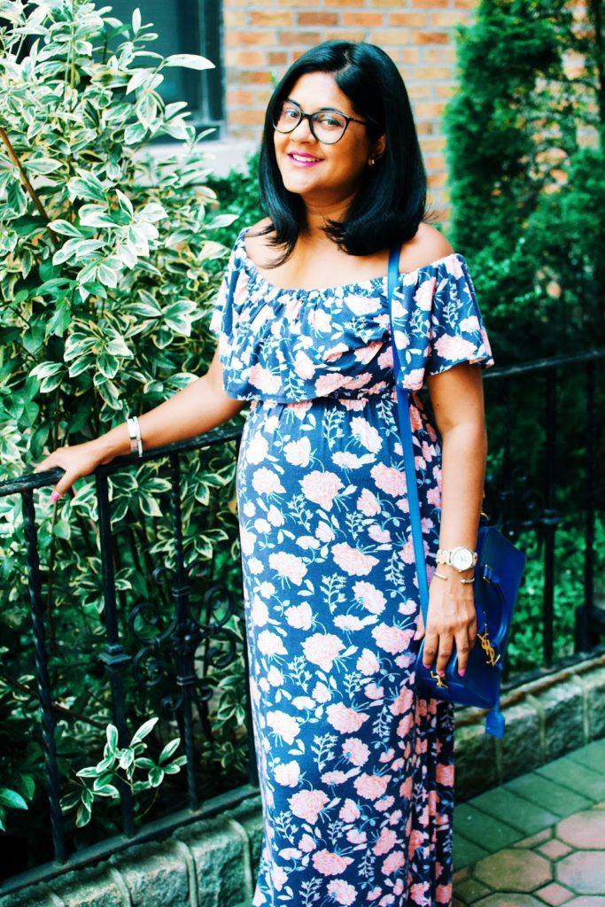 maternity clothing, maternity fashion, maternity floral maxi dress