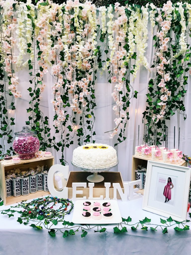 baby shower garden theme, floral themed baby shower, garden cake table