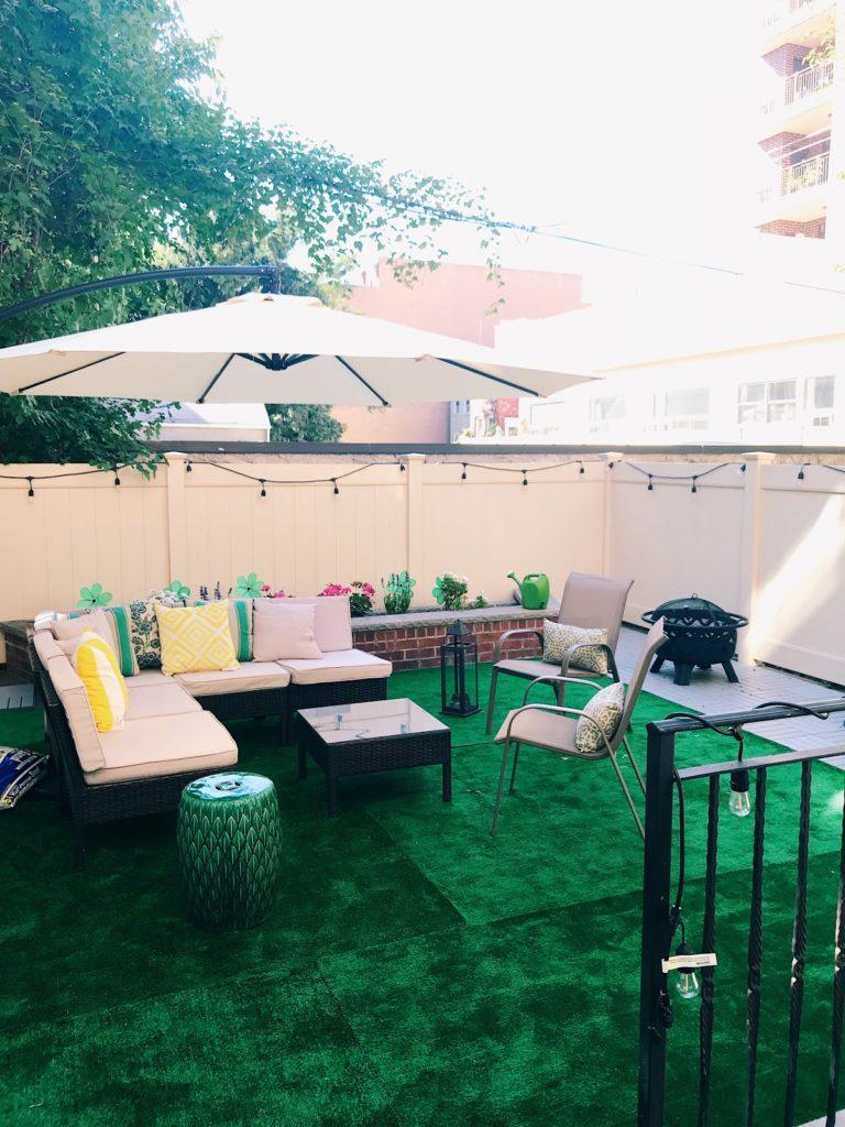 Backyard space in Astoria, grass area, backyard in New York City