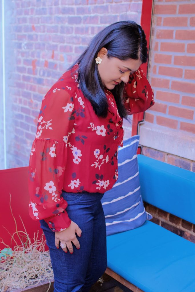 Red blouses for the holidays, Kate spade red blouse