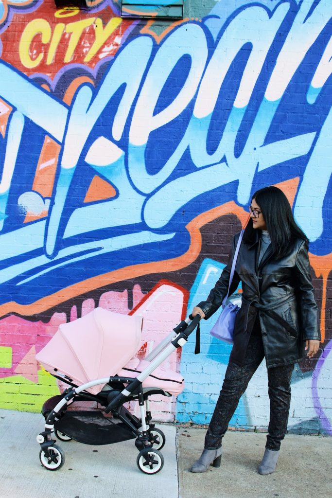 leather trench, leather jackets for the winter, bugaboo bee stroller